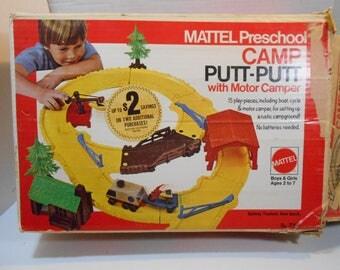 Camp Putt Putt Mattel Preschool Self Propelled RV Camper ATV Boat Crane Switch Gates Toy Track  with Box 1973