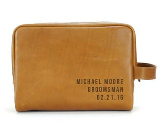 Travel Dopp Kit - Engraved Toiletry Bag - Tan