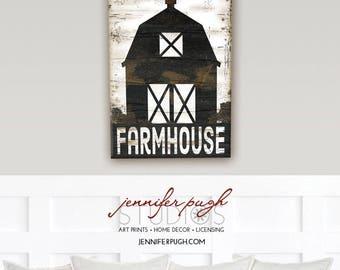 Farmhouse Barn - 12x18 Art Print - Inspirational Vintage Wall Decor - Farm, Kitchen, Living Room, Barn Animals -White, Black