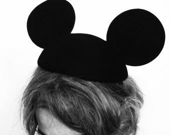 Mickey Mouse Ears Vintage Inspired Wool Beret Fascinator