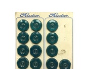 4 French Antique Teal Green Plastic Buttons