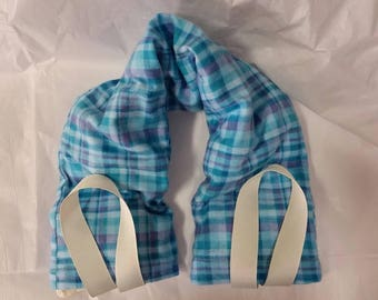 Hot/Cold Therapy Neck Wrap with straps and washable cover Blue Plaid