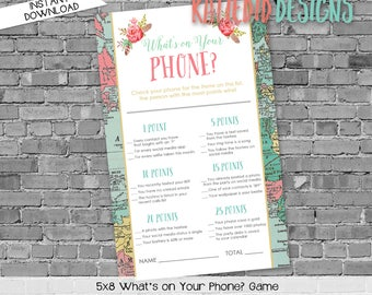 what's on your phone shower game   gender reveal party game   world map baby shower   Traveling from Miss to Mrs   370 Katiedid Designs