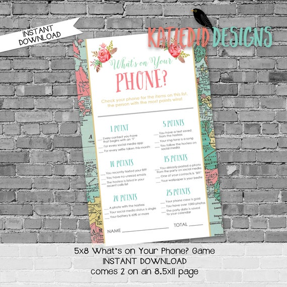 what's on your phone shower game | gender reveal party game | world map baby shower | Traveling from Miss to Mrs | 370 Katiedid Designs