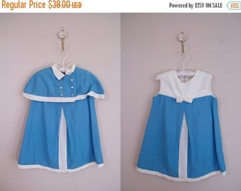 20% OFF SALE Vintage 1960s Girls Dress with Matching Caplet / Blue and White / Mod
