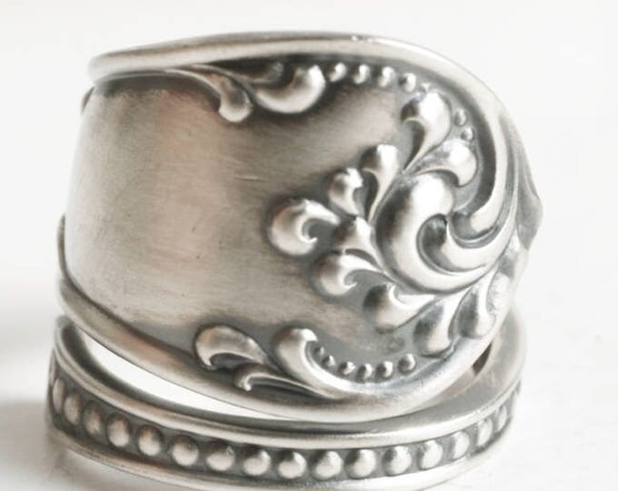 Antique Spoon Ring, Rococo Jewelry, Vintage Sterling Silver Spoon Ring, 1895 Rustic Towle Silver, Milgrain Ring, Adjustable Ring Size (5815)