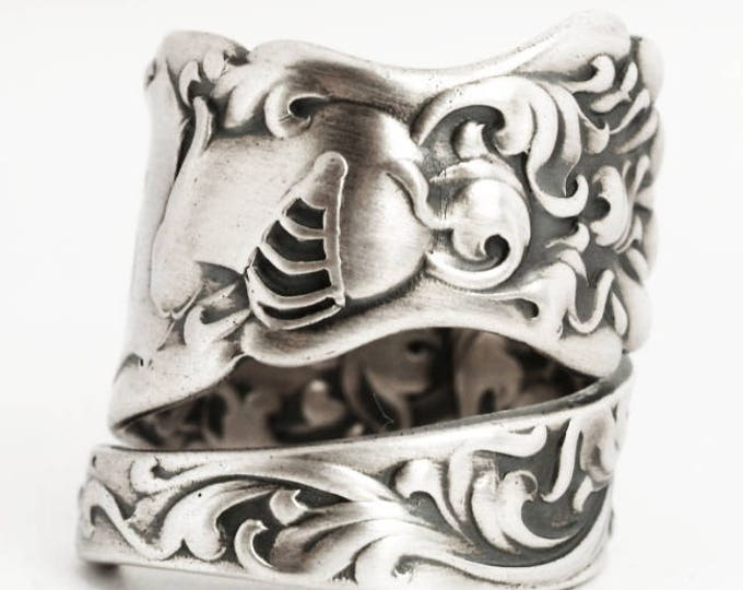 Heraldic KnightRing, Sterling Silver Spoon Ring, Shining Armor, Baroque Ring, Whiting Silver 1880, Handmade Ring, Adjustable Ring Size, 6909