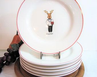 """Holiday REINDEER Plates, 8.25"""" Salad Dessert Appetizers, Set of 6, Dasher, Dancer, Vixen, Comet, Cupid, Blitzen, Santa's Reindeer Dishes"""