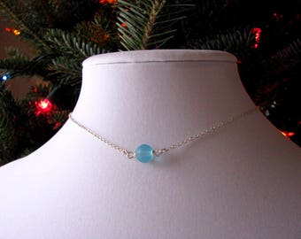 Single Pearl Necklace with Aqua Blue Sea Glass Single Pearl Choker Necklace Simple Beach Glass Jewelry Frosted Glass