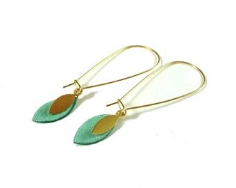 Mint leather tassel hoop earrings