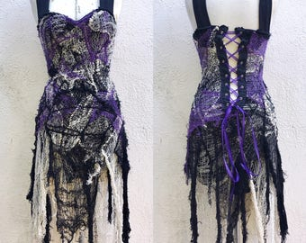 Gothic Dress - Black, Purple and White Spider Webb Dress - Halloween Costume - Gothic Dress