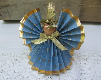 Blue  and Gold Angel / Christmas Ornament / Cornflower Blue / Gold Polka Dot Paper Ribbon Angel / Gift for Angel Lover / Paper Angel / Blue