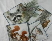Quilted Cotton Fabric Coasters (4) Forest Babies  Set #2