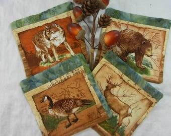 Quilted Coasters (4) -  Adirondack Animals #3