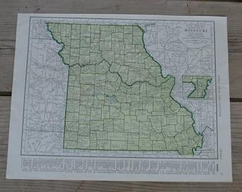 Missouri State Map Print Vintage Original
