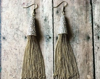 Gold pave tassel earrings