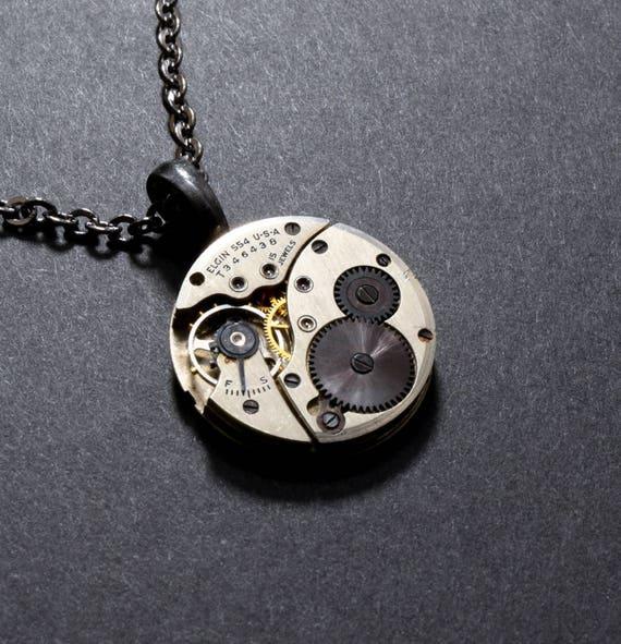 BLACK Steampunk Necklace Steampunk Jewelry UNUSUAL ELGIN Steampunk Watch Necklace Steam Punk Gothic Victorian Steampunk VictorianCuriosities
