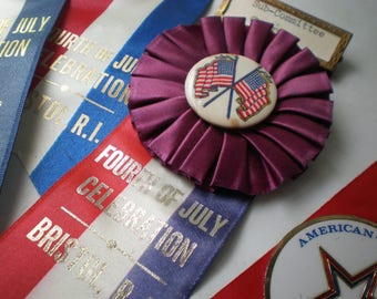 Vintage Collection of Fourth of July Parade Official Ribbon Badges