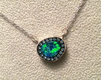 SUMMER Sale Super Fiery Opal doublet sterling silver Necklace
