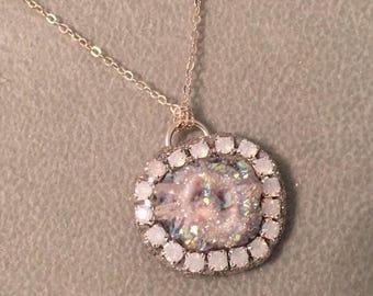SUMMER Sale Aura angel chalcedony rosette druzy necklace