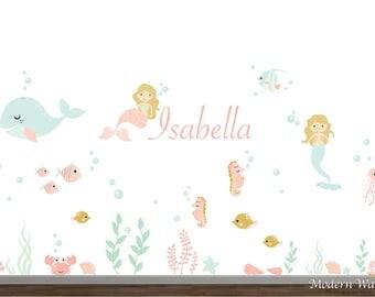 Underwater Wall Decal, Mermaid Wall Decal, Ocean Wall Decal, Aquarium Wall Decal, Sea Life, Girls Nursery Decor, Gold Coral Wall Art