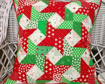 Scrappy Christmas Quilted Pillow Cover - fits 18 inch pillow form - eco friendly and one of a kind