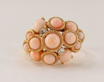 Vintage 1972 Signed Avon Arabesque Cluster Size LARGE Gold Tone Coral Pink Faux Pearl Rhinestone Adjustable 8 to 9 Ring in Original Box NIB