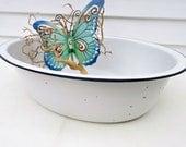 Vintage Enamel Basin | Enamel Baby Tub | Oval Enamel Bowl | Large Enamel Tub | Blue White Enamel