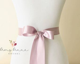 Dusty Lilac, Dusty Lavender, Fresco Double-faced Satin Ribbon - 1.5 inches wide, 3 yards