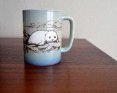 vintage 70s 80s etched seal ocean marine japan coffee cup mug