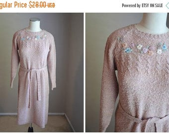 Summer SALE - 20% off - vintage 70s 80s nubby knit light pink mauve sweater dress with belt -- womens small --36 bust