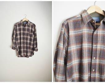 vintage 80s brown plaid pendleton wool shirt -- distressed mens large