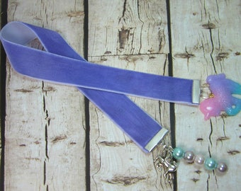 Unicorn Ribbon Bookmark Purple Velvet Ribbon Unicorn Charm Girls Bookmark Pink Purple Blue Pearls Glitter Unicorn 149B