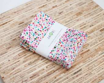 Small Cloth Napkins - Set of 4 - (N4010s) - Confetti on White Modern Reusable Fabric Napkins