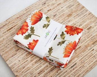 Large Cloth Napkins - Set of 4 - (N5230) - Autumn Floral Orange Modern Reusable Fabric Napkins