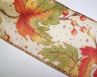 Fall Golden Leaves Wire Edge Ribbon 3 Yards