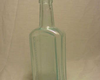 c1880s J. W. Bull's Cough Syrup A. C. Meyer & Co. Baltimore, MD., Cork Top Aqua Blown Glass Medicine bottle
