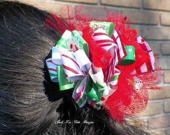 Christmas Red, White, and Green Hair Bow with Sparkles