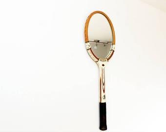 Vintage Tennis Racket Mirror -  Wooden - Up Cycled  - Retro - Spaldine
