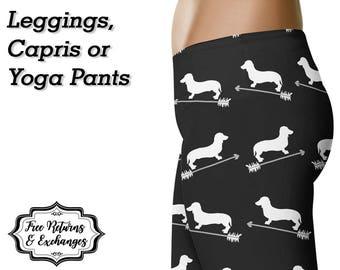 Dachshund Arrow Leggings, Yoga Pants, Capris • Doxie Mom Wiener Dog Weiner Dog Weenie Dog Sausage Dog Lover Clothes Womens Clothing Gift