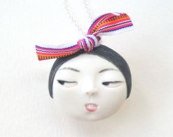 Little head Face Handmade Porcelain Ceramic Pendant Necklace