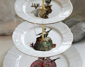 3-Tiered Drunken Marie Antoinette Cake Stand, Foodsafe & Durable, CUSTOMIZE With Your Own Image, Marie Antoinette China, Antoinette Plate