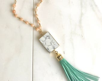 Long Tassel Necklace in Peach and Turquoise. Leather Tassel.  Long Gold Peach Orange Tassel Necklace. Gold Tassel Necklace.  Boho Style.