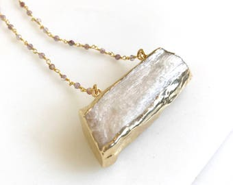 Selenite Crystal Bar Necklace with Moonstone Beaded Chain. Geode Necklace. Druzy Jewelry. Stone Necklace. Chunky Necklace. Gift.