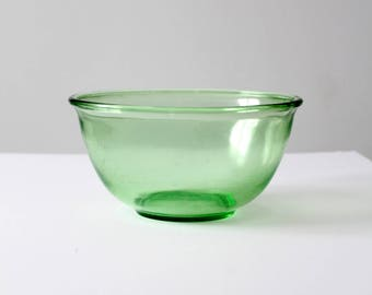 Depression glass bowl, vintage Hazel-Atlas green glass mixing bowl