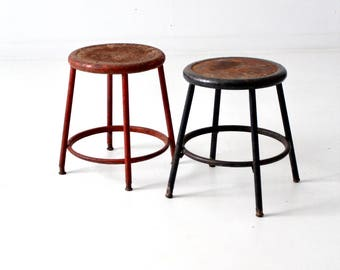 vintage industrial stool pair, metal stools set/2