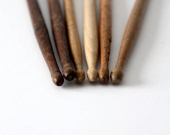 vintage drumsticks, wooden drum stick collection, percussion sticks