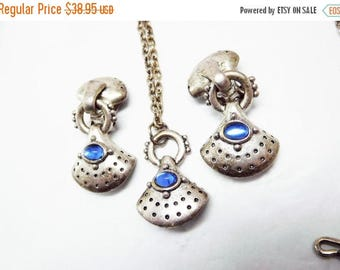 SALE C. STEIN Modernist Necklace & Earrings  Pewter color Sapphire Blue glass Etruscan Modern