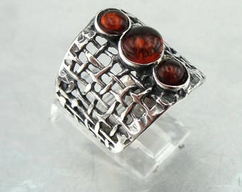 Hadar Jewelry Long 925 Amber Ring, Handcrafted Sterling Silver Amber Ring size 7, Amber silver band, Honey Amber ring, Birthday gift (H 1588