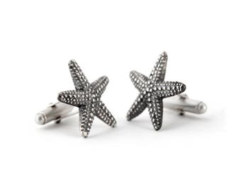 Beach Wedding Cufflinks – Starfish Cuff Links in Sterling Silver Cufflinks – Also Ideal for a Nautical or Starfish Wedding